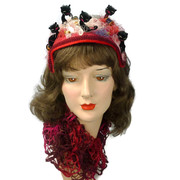 "Red Hat in Silk & Satin - Vintage Black Chenille Cats Kittens ""Helping"" in the sewing room"