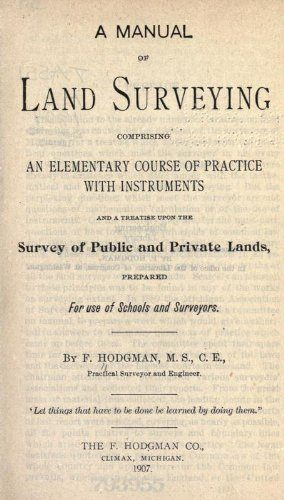 A Manual Of Land Surveying 1845