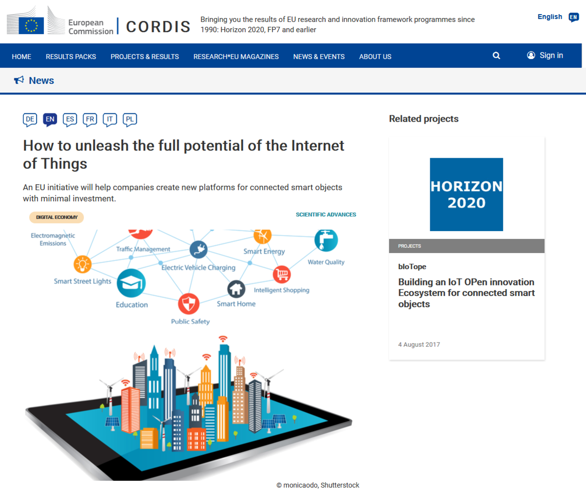 CORDIS article features bIoTope project