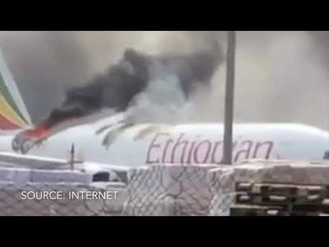 Ethiopian Airlines Boeing 777 freighter caught fire on the ground in Shanghai Airport.