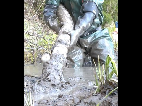 Rubber boots and pvc rainwear in deep mud. Removing junk from a pond - cam 3