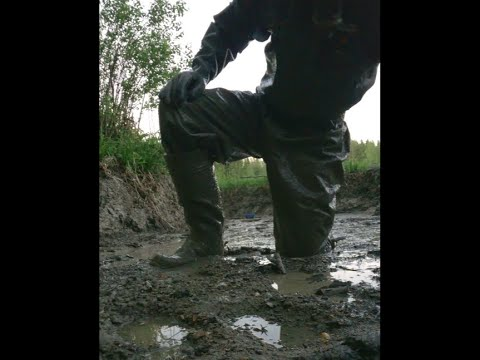 Muddy work in rubber boots and rainwear - Some logs needed to be lifted up - cam 3