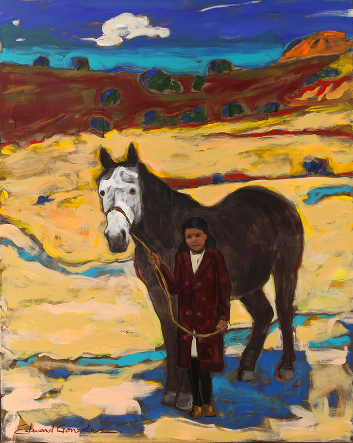 ANCESTOR HORSE Edward Gonzales  60x48 inches  acrylic on canvas  2020