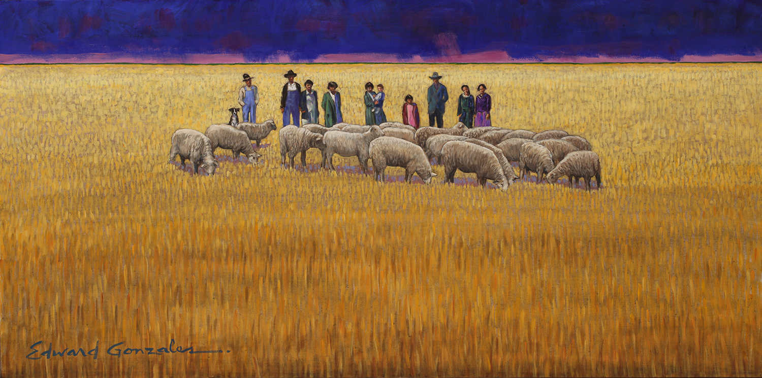 LOS NORTEÑOS DEL LLANO  Edward Gonzales  24x48 inches  acrylic on canvas  2020