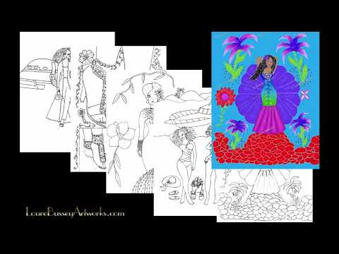 Pretty Fashions Coloring Book And The Art Prints Created From Its Pages