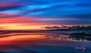 Ludington State Park Beach house sunset - Big Sable River outlet. Michigan