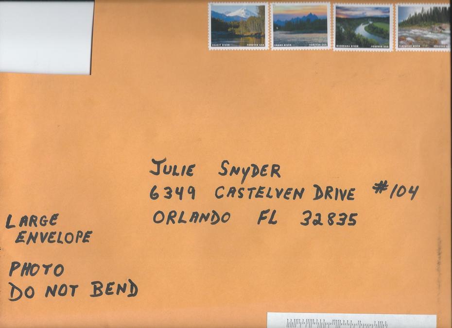 Johnny Washbrook beautiful handwriting on envelope. Received on0004