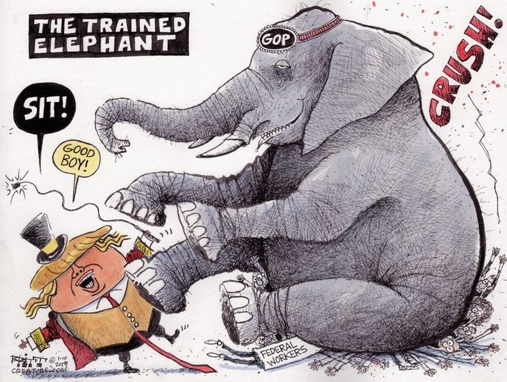 The trained elephant (Donald Trump as costumed ringmaster, with a whip, telling the 'GOP' elephant to 'Sit!' and 'Good boy!'; the giant elephant has just crushed federal workers)