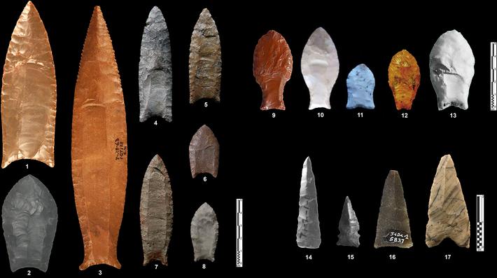 Cabeza de flecha neolítica monofacial tallos proyectil punto herramienta de piedra África