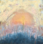 """Psalm 122, oil and cold wax 14"""" x 14"""" cradled panel"""