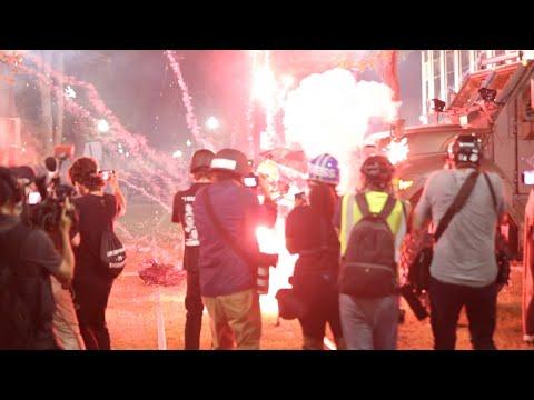 Raw video: Police versus protesters night 3 in Kenosha ahead of shooting