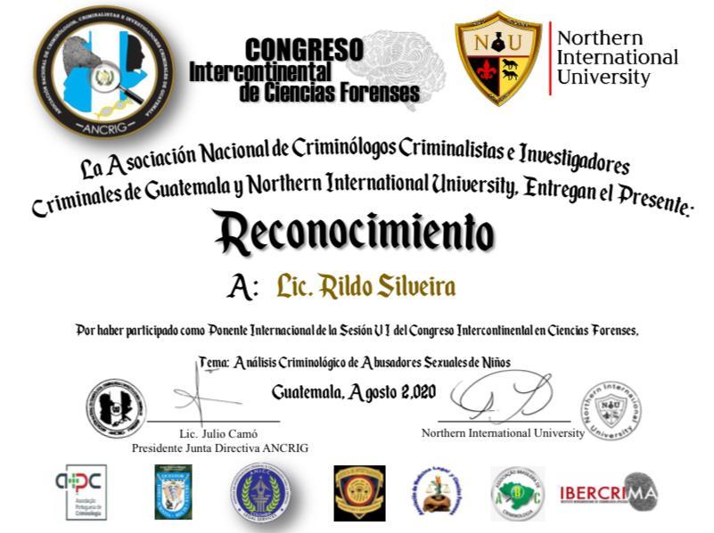 Certificado de Docente/Palestrante do Congresso Internacional de Ciências Forenses