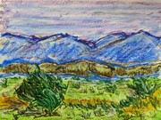 Blue Mountains in Oil Pastels
