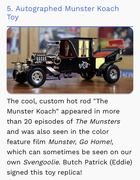 I was On, MeTV's, Collector's Call, S2E6, Meet Fred,with, Lisa Whelchel, Shown on the show is our 1/18 scale, Munster's Koach