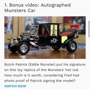I was On, MeTV's, Collector's Call, S2E6, Meet Fred,with, Lisa Whelchel, shown was our, Autographed 1/18 scale Munsters Koach