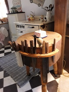 A butcher block with knives