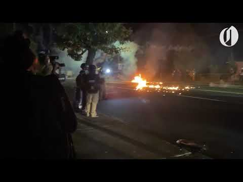 Portland protest declared riot after incendiary devices thrown