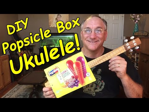 DIY Popsicle box ukulele!  I built this from a Popsicle box and a wooden stake!  Check it out!