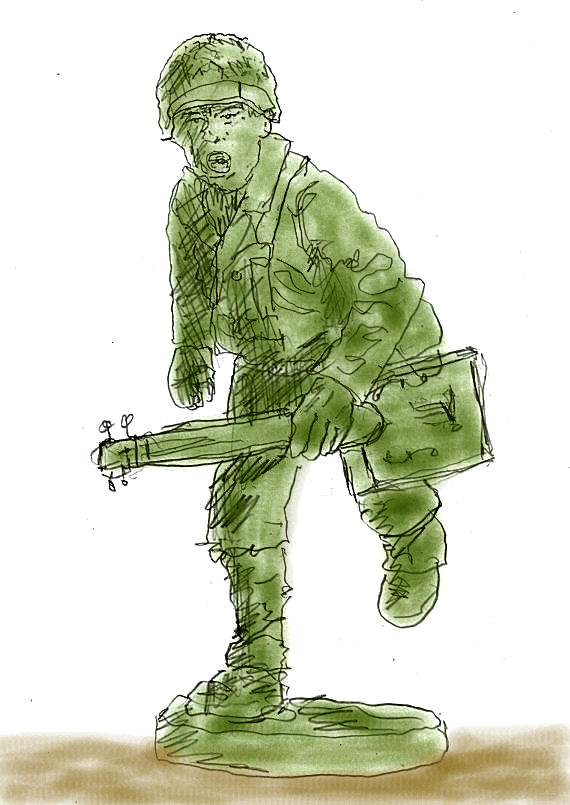 Re-imagined Plastic green army man