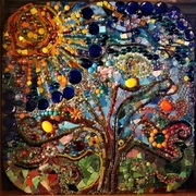 Large glass mosaic, front ~ Tree of Life`