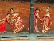 Newar girls in cultural ceremony