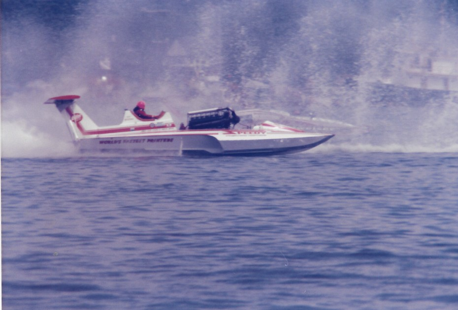 8-4-1985 Gold Cup Heat 2A American Speedy Printing, Miss Budweiser  1