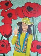 b18 Mädchen mit Hut, 2020, Acryl auf Leinwand, 60 x 80 cm