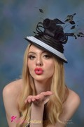 Black & White crinoline and sinamay fascinator