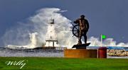 Ludington Michigan lighthouse and waves