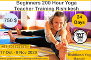 Beginners 200 Hour Yoga Teacher Training Rishikesh-RYS 200 ( 17-Oct to 9-Nov)