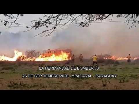 SE QUEMA CAMION DE BOMBEROS EN YPACARAI - PARAGUAY