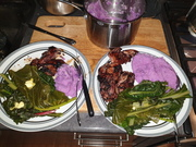 Mashed ube and quail cooked in mulberry bbq sauce