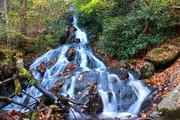 silky shot flat creek falls from the base
