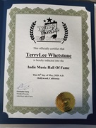 Inductee to Indie Music Hall of Fame