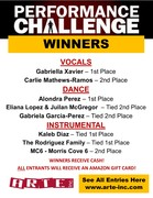 PERFORMANCE CHALLENGE WINNERS