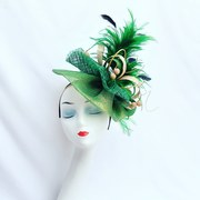 Shades of green and gold fascinator