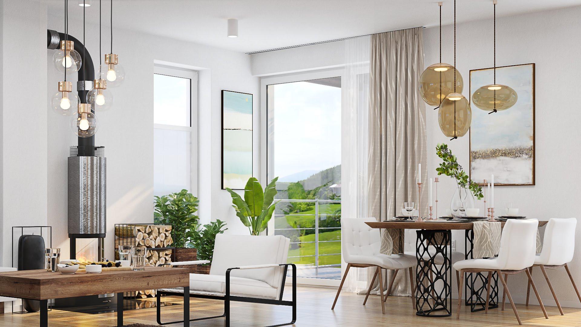 Návrh interiéru obývacej izby s kuchyňou v rodinnom dome - Košice,Kavečany