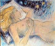 """""""dans la chaleur de la nuit bleue"""" huile sur toile 55x46cm par Aimé Venel"""