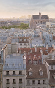 Large vertical view over St Eustache and the rooftops of Paris