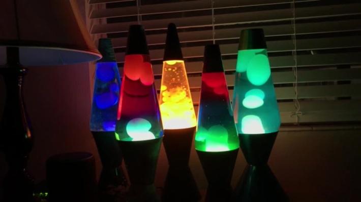 Lava Lamp Display at Night