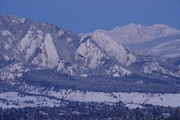 Snowy Flatirons at dawn after storm