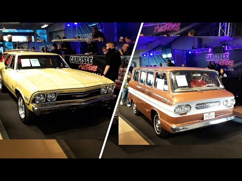 2020 Fall Carlisle Auction Video 5  2 Chevy Haulers '64 Corvair Greenbriar & '68 Chevelle Nomad