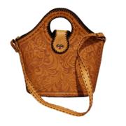 Vintage Tooled Leather Tote Handbag