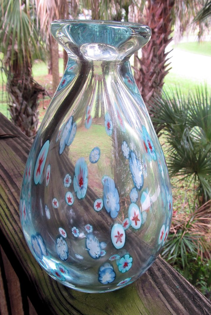 art glass paperweight style vase