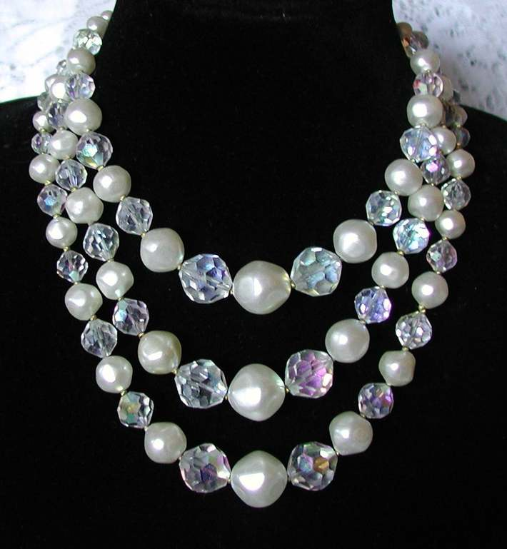 Vintage 1950's Faux Pearl, Multi-Strand Necklace