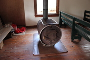 wood stove inside Happy Top
