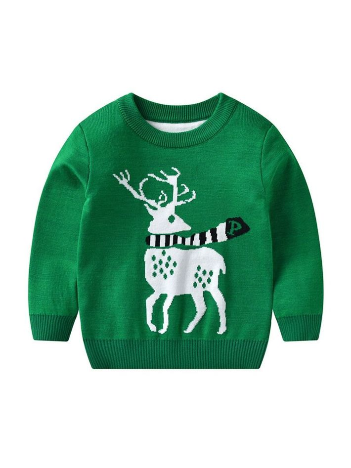 kiskissing wholesale kid boy christmas cartoon deer knit sweater