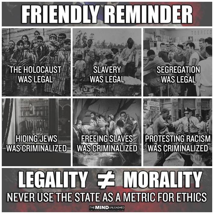 Legality vs Morality - Never Use The State As A Metric For Ethics