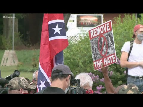 Tense day at Stone Mountain as rival protests amass