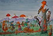 1821.LA VISITE AUX GRANDS OISEAUX.Aq.50 x 70 cm (2)